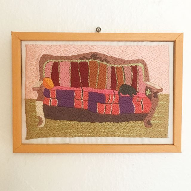 Finally finished the second piece for a project recreating paintings my family has done as tiny embroideries. This one's based on a painting my grandma painted in 1953-54, which hung under the air conditioner in my childhood home. Swipe to see a very shaky video of a size comparison between the two pieces!