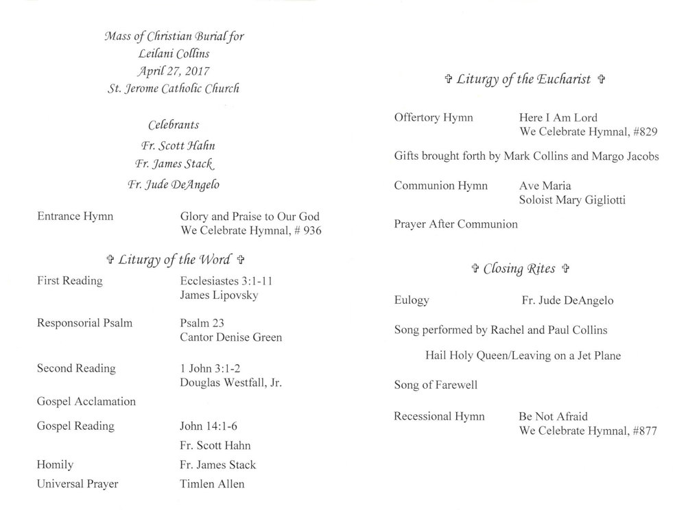 Program from Mass of Christian Burial