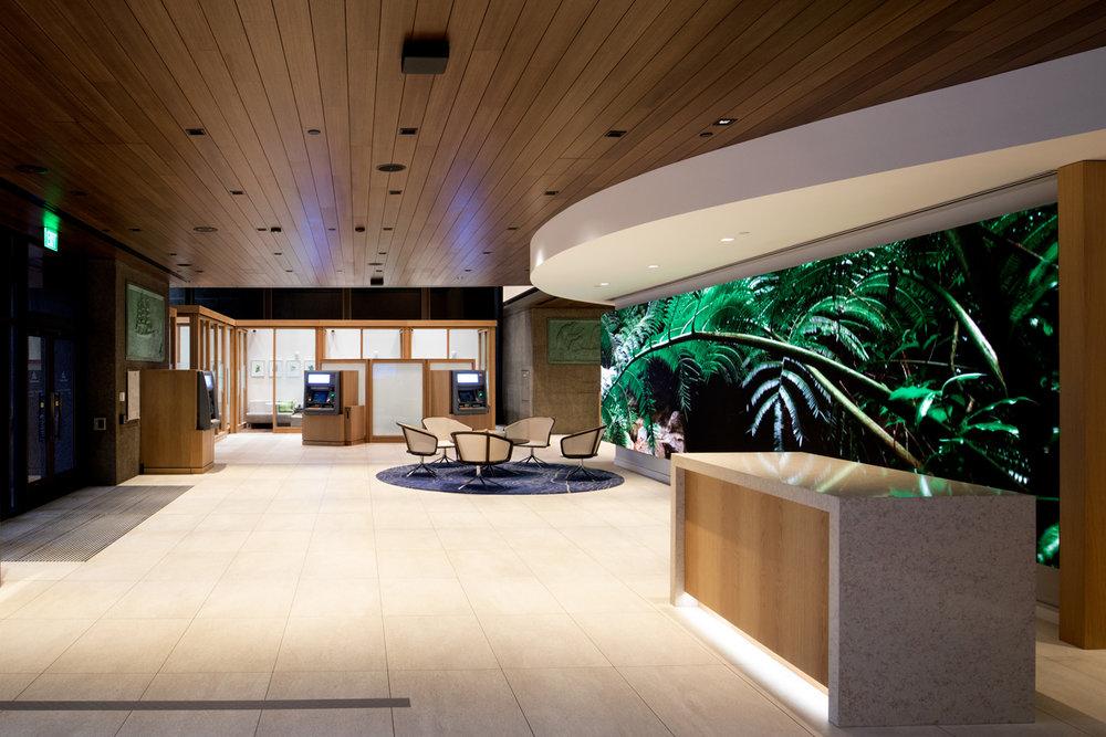 Pantalla LED en sucursal bancaria, un nuevo mundo digital en un ya conocido mundo financiero.