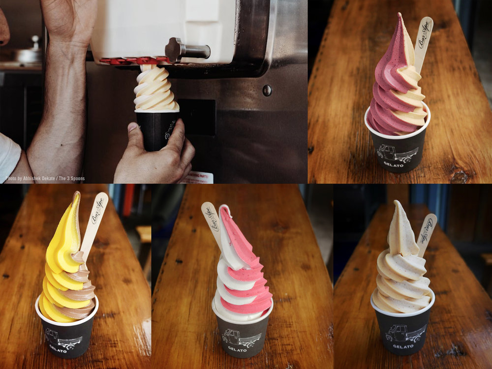 Soft serve flavours stay for only a one week period. They are not repeated until the next year. All fruit flavours are sorbets and are vegan friendly. They are made with only the real ingredients - no fruit pastes.