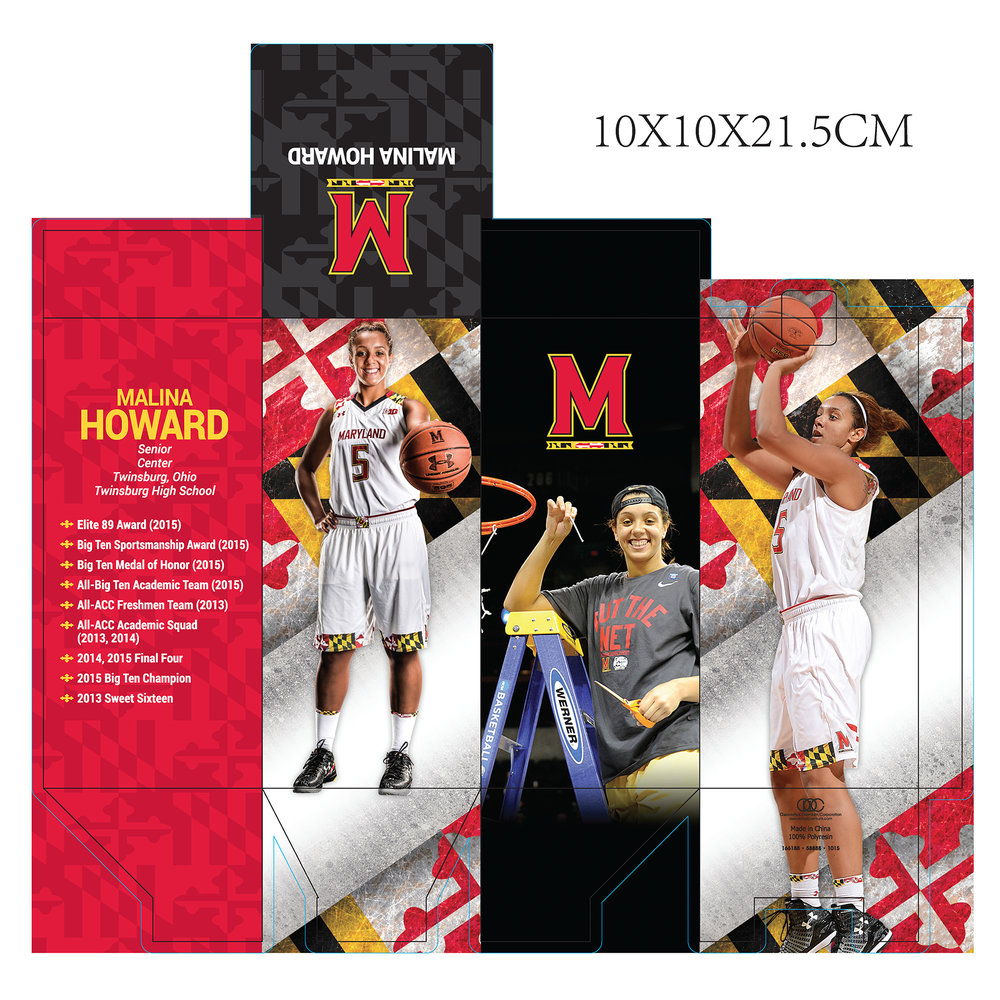 """Bobblehead"" box design for series of Maryland Women's Basketball bobbleheads used as promo giveaways during the 2015-16 season. Same giveaways were produced for 2016-17 season."