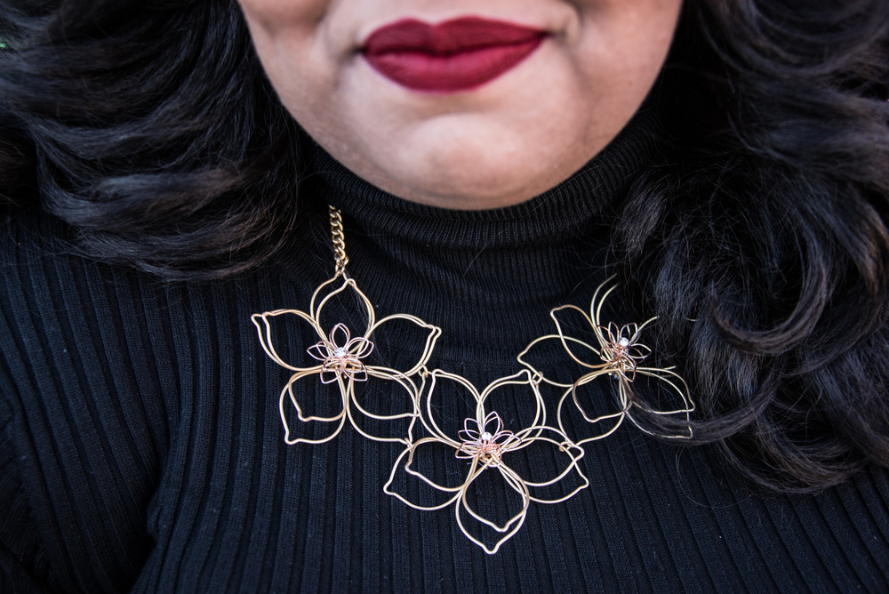 Notice the red lip? Make sure you read my new post on my Top 5 Favorite lip products on Monday! Necklace: Target (yes, Target!)