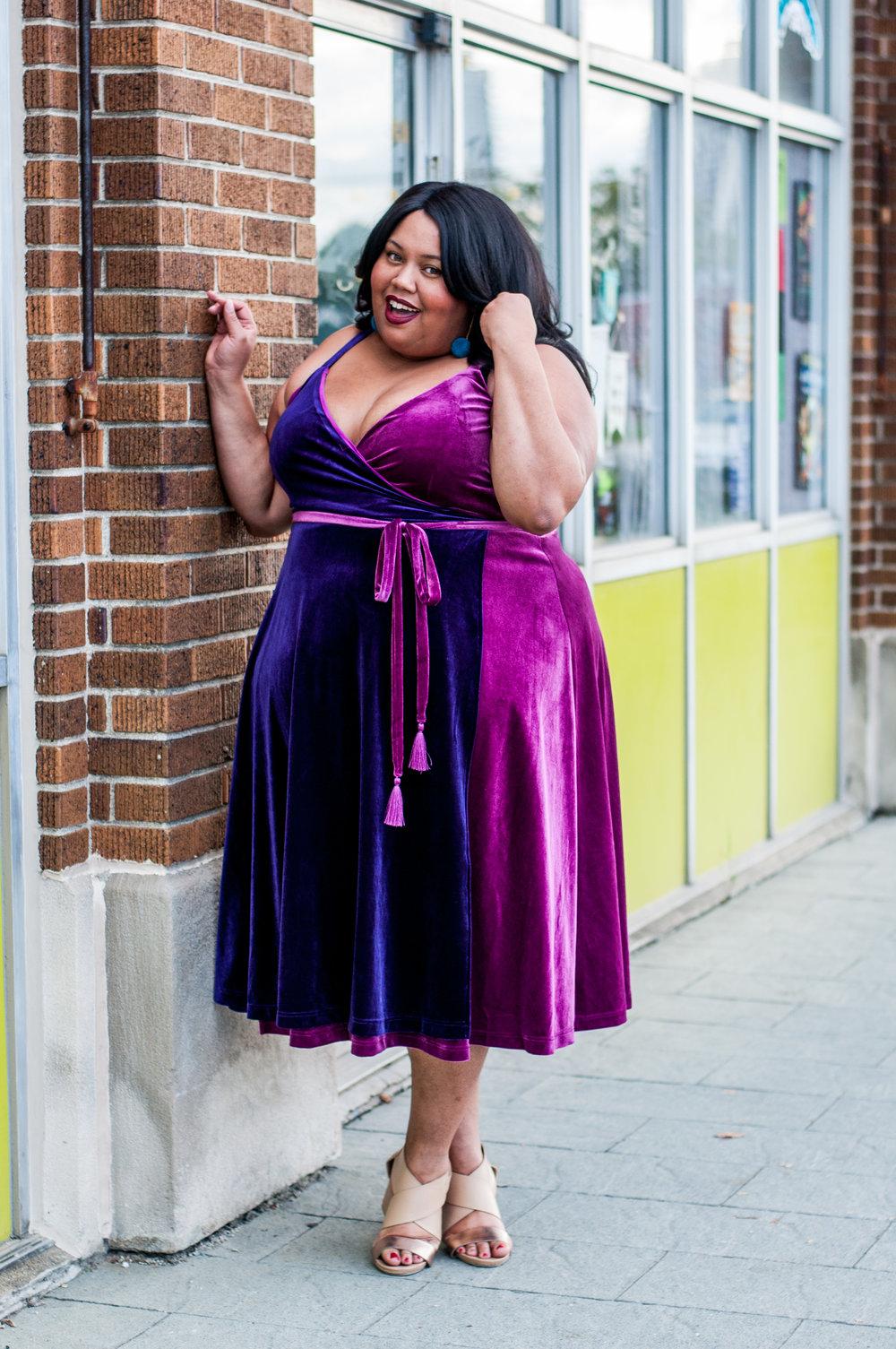eclectic kurves, velvet dress, eloquii, plus size style