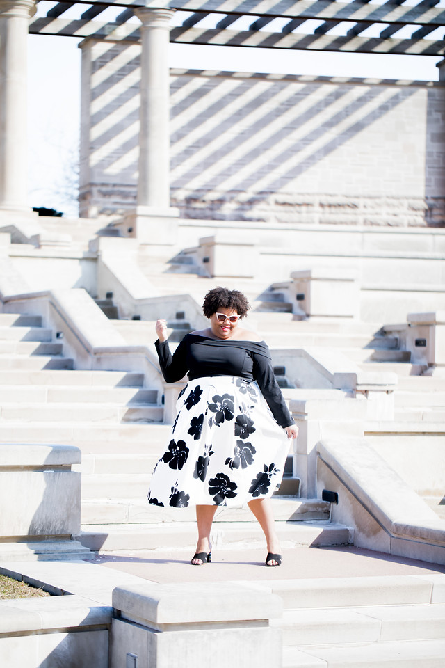 black and white plus size floral skirt