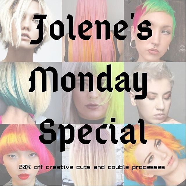 Ok don't freak out but Jolene is now running a weekly Monday special!! If you've wanted to experiment with fun fashion colors or a double process, now is your time because she's offering 20% off! Email, call or book online asap!! (check her out @jolenecarbonehair)