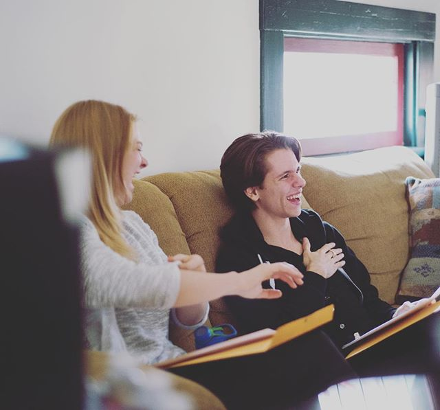 Behind the scenes of today's script reading. 📸: Jessica Perez
