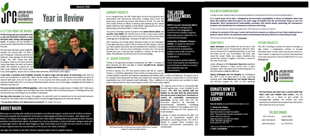 2018 Summer Review - We have been busy since our last update – working with stakeholders and seeking out new ways to promote the things that Jake cared about most, environmental rehabilitation and taking care of others. For us, this means supporting initiatives that better the environment and improve mental health outcomes.