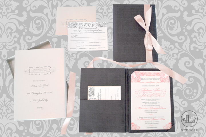 Blush & Platinum Silk Invitation | Stephanie & John