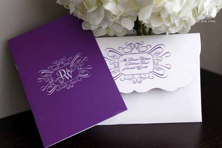 Luxury purple invitations lela new york luxury wedding for Lavender avenue wedding invitations