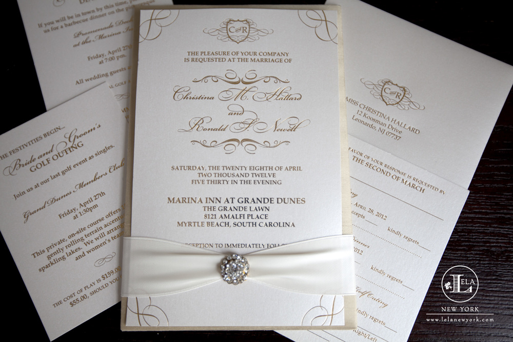 luxury gold invitation christina ronald - Luxury Wedding Invitations