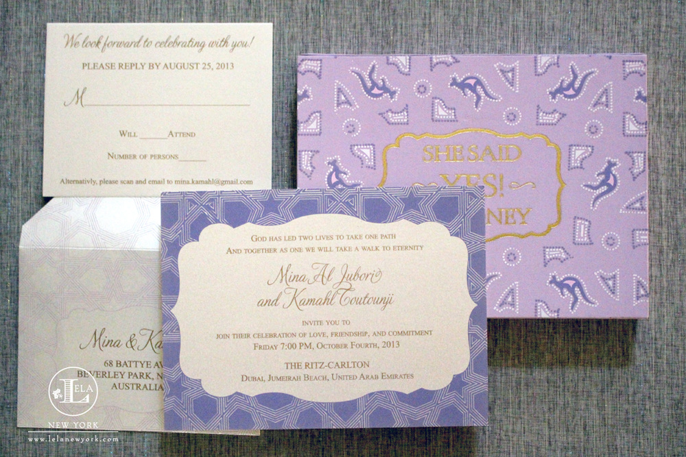 Dubai Ritz-Carlton Wedding Invitation | Mina & Kamahl