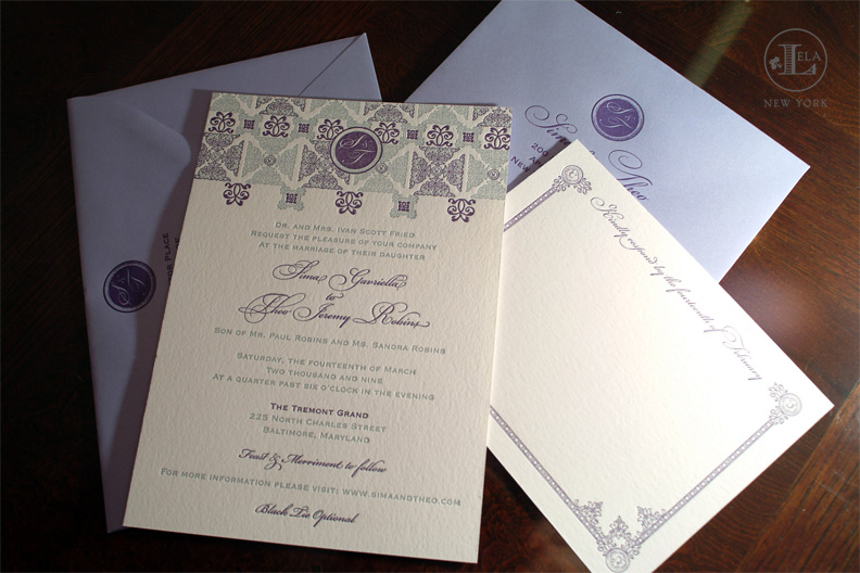 Letterpress Invitations | Sima & Theo