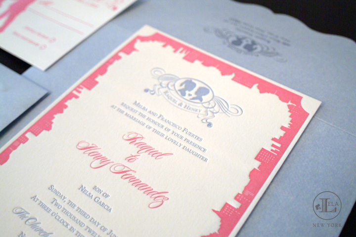 New York Skyline Letterpress Invitation | Raquel & Henry