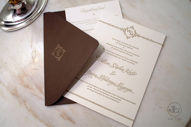 Couture Letterpress Invitation | William & Monica