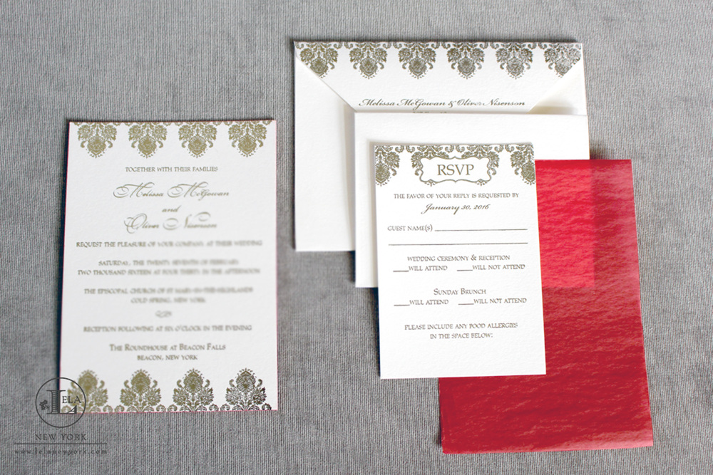 New York Foil Invitations | Melissa & Oliver