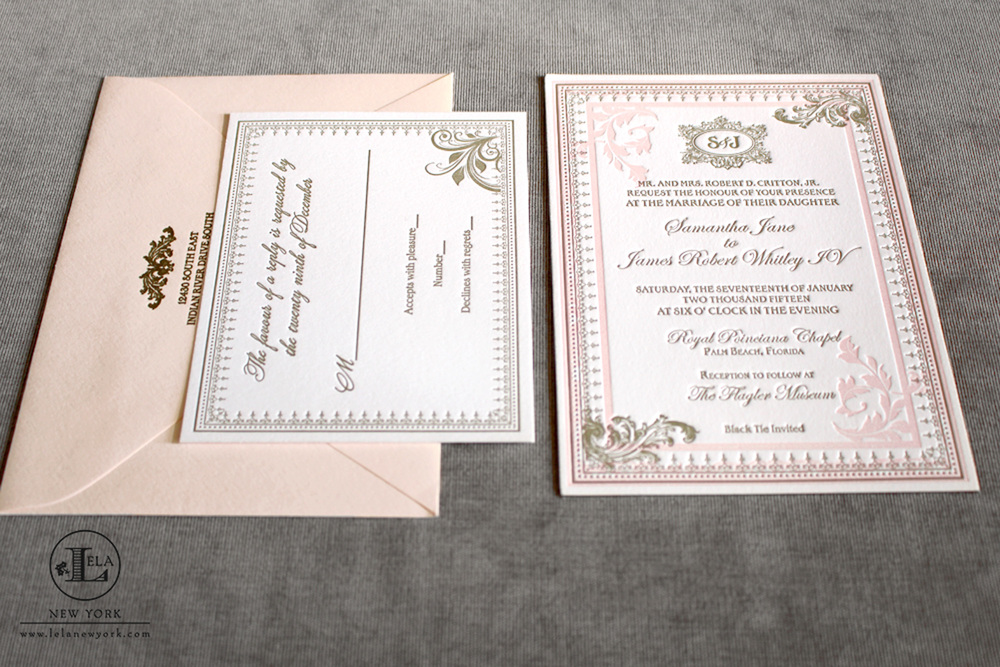 Blush Wedding Invitation | Samantha & James