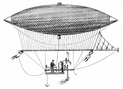 he first airship, fitted with a steam engine was flown by Henri Giffard from Paris in 1852. The airship could only fly forward