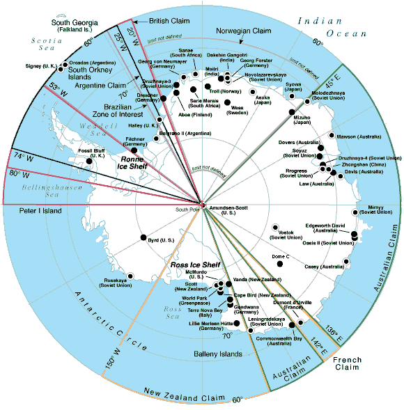 Territories and bases of Antarctica. ©Getty Images