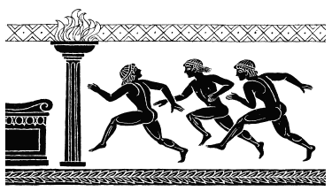 Image of olympians in ancient greece. Yes, the male athletes were naked at the games!