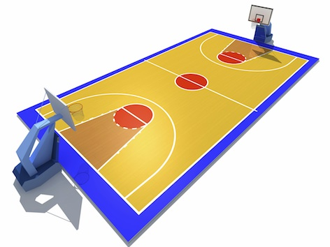 A basketball court is a rectangle with a basket at each end, and can be either inside or outside.