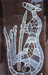 Bark painting showing a kangaroo that had been hunted.