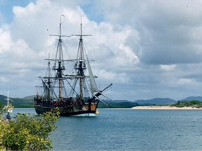 A replica (copy) of Captain Cook's ship Endeavour