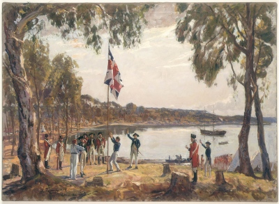 Captain Arthur Phillip raises the British flag at Sydney Cove. January 26, 1788. Photo: State Library of NSW