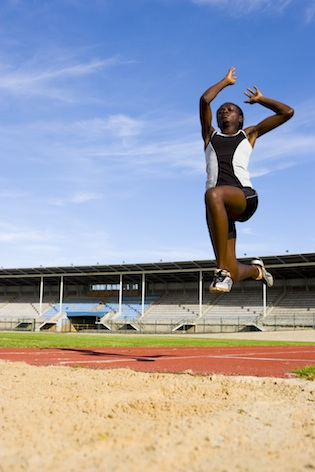 The long jump ends in the sand pit