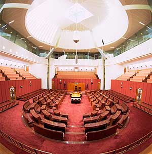 The Senate chamber is decorated in red. © Getty Images