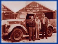 Lance Hill is in the centre. His brother-in-law, Harold Ling is on the left.The man on the right is a worker, Jack Short