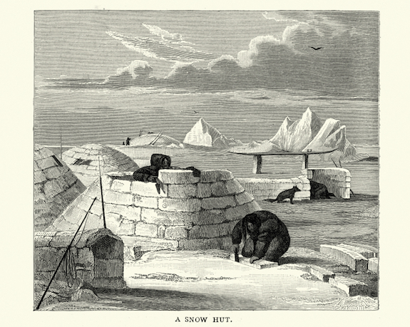 Cutting blocks of ice to build an igloo in the 1800s. © Getty Images
