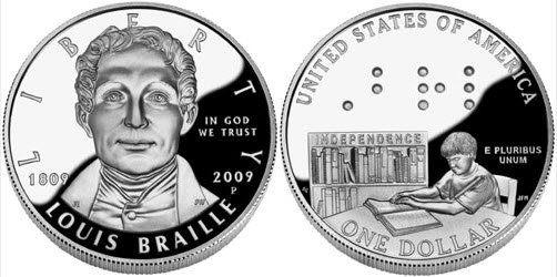 Louis Braille coin, minted in the USA in 2009 to celebrate his birthday 200 years before