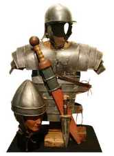 Museum display of armour worn by Roman soldiers
