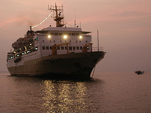 Large ferries like this carry people and goods between the islands.