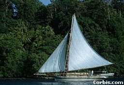 Sailboats like this also travel between islands