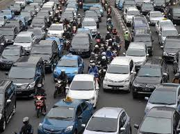 Heavy traffic in the capital city, Jakarta.