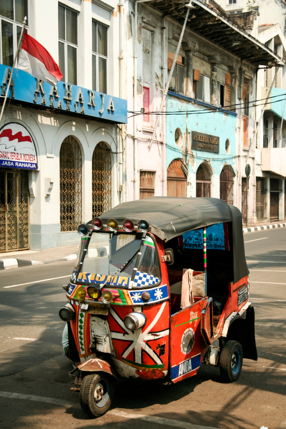 This 3 wheeled motorised rickshaw is also called a tuk-tuk(say took-took)
