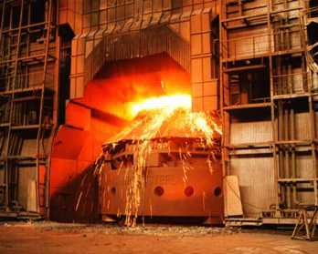 Iron ore is melted in a blast furnace. This is called smelting. Getty Images