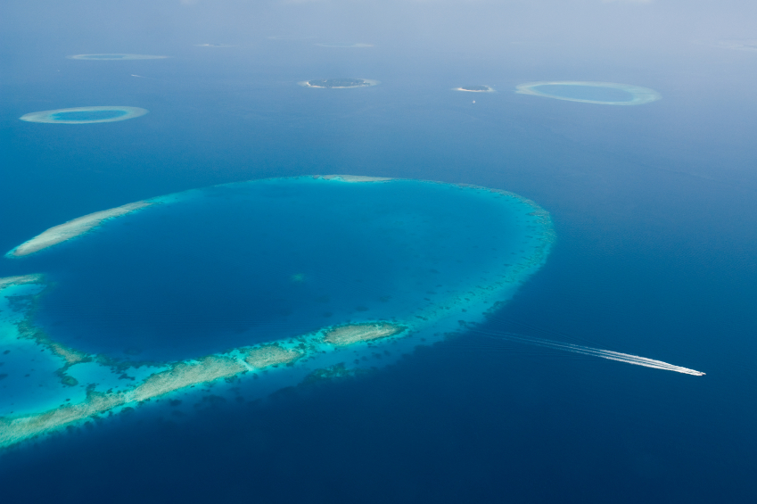 A large reef and lagoon in the Maldives. iStock