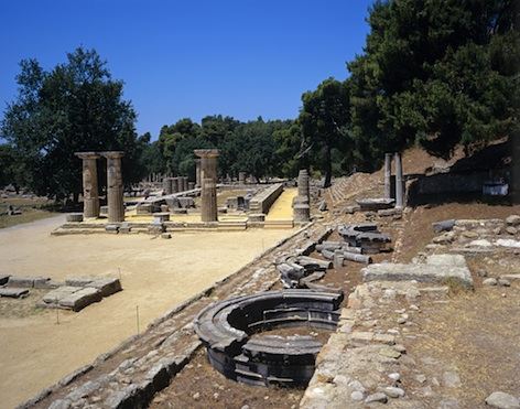 The ruins of the Temple of Hera in Olympia, Greece.