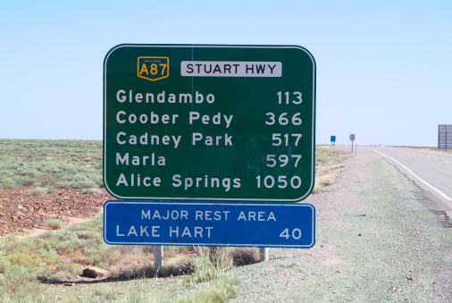 The Stuart Highway, also known as 'Explorer Highway, starting at Port Augusta in the south and going north for 1227km to Alice Springs. © Getty Images