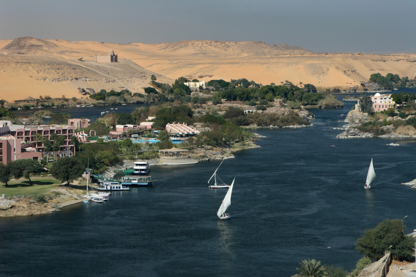The Nile River near Aswan. The sail boats are called 'feluccas' . iStock photos