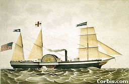 Steam power and wind power were both used on ships like this.