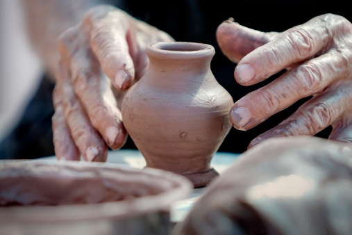 Because clay particles bond together tightly, it is good for making pottery. Getty Images