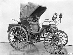 A later car by Benz 1891. Benz's four-wheeled car named the VELO was the first car built in large numbers
