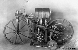 An early petrol-driven motor bike invented by Daimler.  1885
