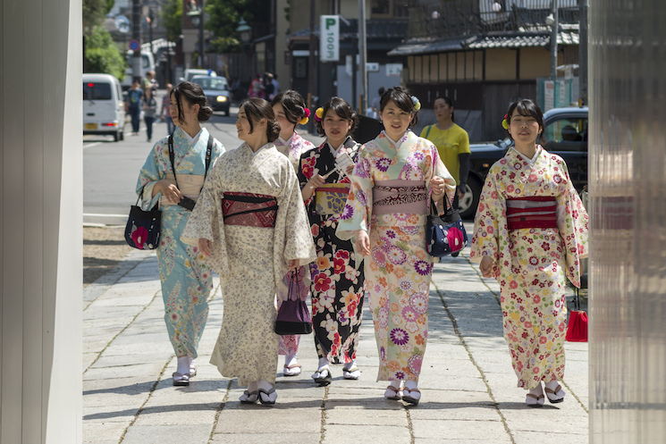 A group of women wearing the traditional kimono. Getty Images