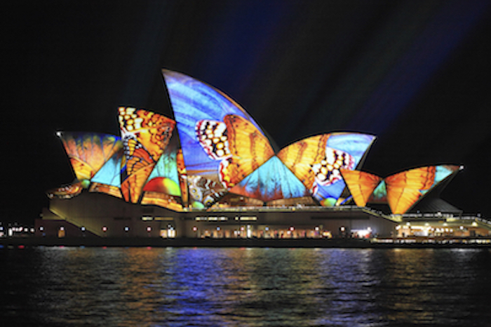 On special occasions, special lighting is projected onto the sails. Photo©iStock