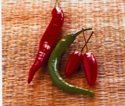 There are red and green chillies