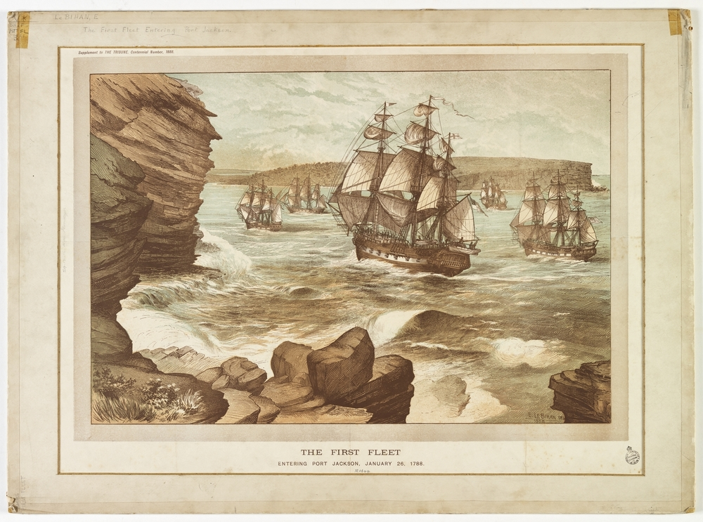 The First Fleet entering Port Jackson (Wikipedia)